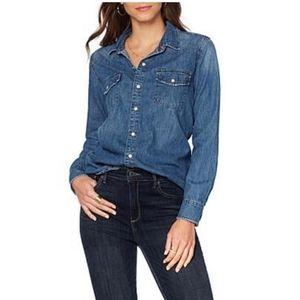 Lucky Brand Classic Western Denim Shirt Button Up